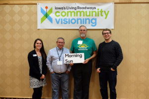 Hannah Howard (Trees Forever), Terry Wallace (Mayor - Morning Sun), Doug Elam (Keep Iowa Beautiful), and Dallas Tuttle (Morning Sun Hometown Pride)